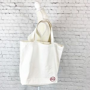 AG Adriano Goldschmied Large White Canvas Tote Bag